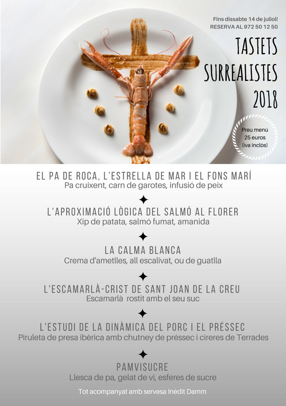 Menu Tastets Surrealistes 2018 català hotel duran